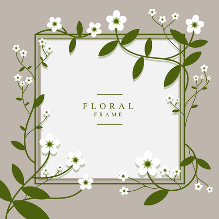 Hand drawn spring typography poster with cute colorful flowers in flat style. Vector illustration for 8 March Woman s Day, Mother s Day, greeting cards, invitations. Frame for sale flayers, web design Ilustracja