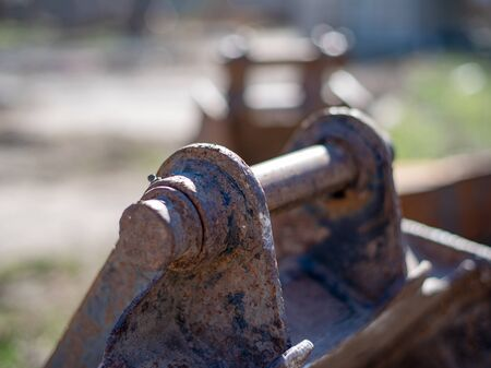 Spare part for excavator, bucket closeup Standard-Bild