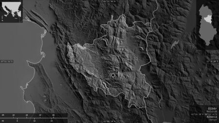 Dibër, county of Albania. Grayscaled map with lakes and rivers. Shape presented against its country area with informative overlays. 3D rendering Foto de archivo
