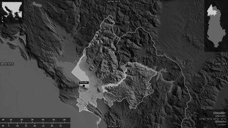 Shkodër, county of Albania. Grayscaled map with lakes and rivers. Shape presented against its country area with informative overlays. 3D rendering Foto de archivo
