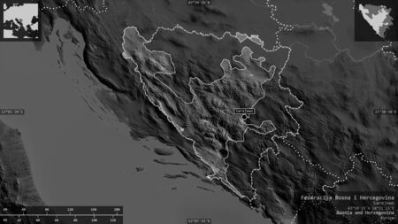 Federacija Bosna i Hercegovina, entity of Bosnia and Herzegovina. Grayscaled map with lakes and rivers. Shape presented against its country area with informative overlays. 3D rendering Foto de archivo