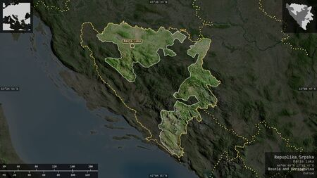 Repuplika Srpska, entity of Bosnia and Herzegovina. Satellite imagery. Shape presented against its country area with informative overlays. 3D rendering