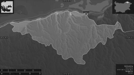 Silistra, province of Bulgaria. Grayscaled map with lakes and rivers. Shape presented against its country area with informative overlays. 3D rendering
