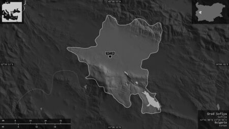 Grad Sofiya, province of Bulgaria. Grayscaled map with lakes and rivers. Shape presented against its country area with informative overlays. 3D rendering Foto de archivo