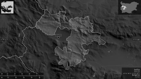 Sofia, province of Bulgaria. Grayscaled map with lakes and rivers. Shape presented against its country area with informative overlays. 3D rendering