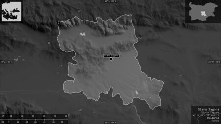 Stara Zagora, province of Bulgaria. Grayscaled map with lakes and rivers. Shape presented against its country area with informative overlays. 3D rendering