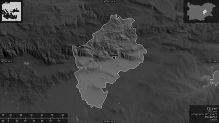 Sliven, province of Bulgaria. Grayscaled map with lakes and rivers. Shape presented against its country area with informative overlays. 3D rendering