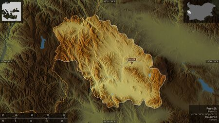 Pernik, province of Bulgaria. Colored relief with lakes and rivers. Shape presented against its country area with informative overlays. 3D rendering