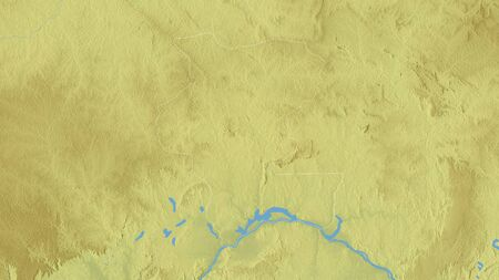 Kémo, prefecture of Central African Republic. Colored relief with lakes and rivers. Shape outlined against its country area. 3D rendering