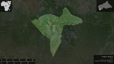Sangha-Mbaéré, economic prefecture of Central African Republic. Satellite imagery. Shape presented against its country area with informative overlays. 3D rendering