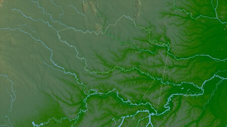 Amazonas, commissiary of Colombia. Colored shader data with lakes and rivers. Shape outlined against its country area. 3D rendering Stock fotó
