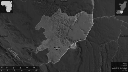 Pool, region of Republic of Congo. Grayscaled map with lakes and rivers. Shape presented against its country area with informative overlays. 3D rendering Banco de Imagens