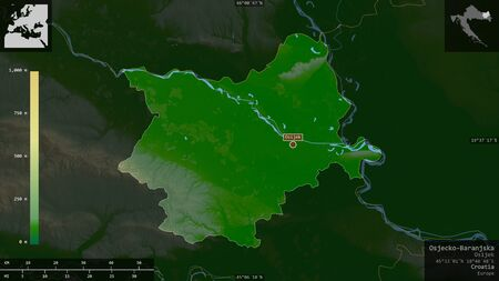 Osjecko-Baranjska, county of Croatia. Colored shader data with lakes and rivers. Shape presented against its country area with informative overlays. 3D rendering