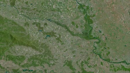 Osjecko-Baranjska, county of Croatia. Satellite imagery. Shape outlined against its country area. 3D rendering