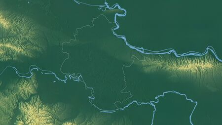 Vukovarsko-Srijemska, county of Croatia. Colored relief with lakes and rivers. Shape outlined against its country area. 3D rendering