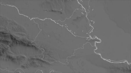 Osjecko-Baranjska, county of Croatia. Grayscaled map with lakes and rivers. Shape outlined against its country area. 3D rendering