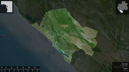 Nyanga, province of Gabon. Satellite imagery. Shape presented against its country area with informative overlays. 3D rendering Фото со стока