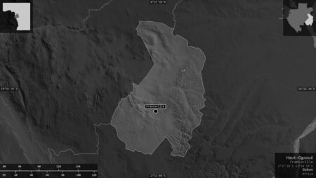 Haut-Ogooué, province of Gabon. Grayscaled map with lakes and rivers. Shape presented against its country area with informative overlays. 3D rendering
