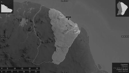 Cayenne, arrondissement of French Guiana. Grayscaled map with lakes and rivers. Shape presented against its country area with informative overlays. 3D rendering