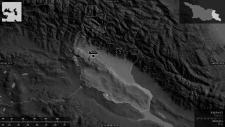 Kakheti, region of Georgia. Grayscaled map with lakes and rivers. Shape presented against its country area with informative overlays. 3D rendering Фото со стока