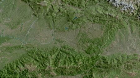 Imereti, region of Georgia. Satellite imagery. Shape outlined against its country area. 3D rendering
