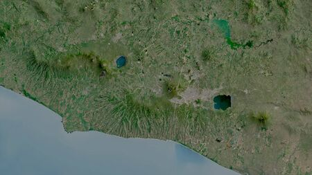 La Libertad, department of El Salvador. Satellite imagery. Shape outlined against its country area. 3D rendering