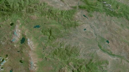 Kvemo Kartli, region of Georgia. Satellite imagery. Shape outlined against its country area. 3D rendering