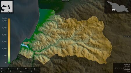 Ajaria, autonomous republic of Georgia. Colored shader data with lakes and rivers. Shape presented against its country area with informative overlays. 3D rendering