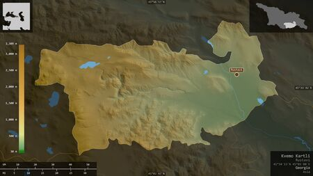 Kvemo Kartli, region of Georgia. Colored shader data with lakes and rivers. Shape presented against its country area with informative overlays. 3D rendering Фото со стока