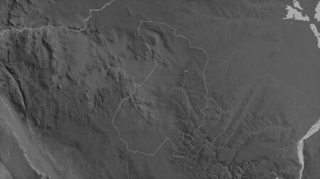Haut-Ogooué, province of Gabon. Grayscaled map with lakes and rivers. Shape outlined against its country area. 3D rendering
