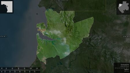 Estuaire, province of Gabon. Satellite imagery. Shape presented against its country area with informative overlays. 3D rendering