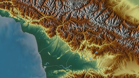 Samegrelo-Zemo Svaneti, region of Georgia. Colored relief with lakes and rivers. Shape outlined against its country area. 3D rendering
