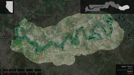 Upper River, division of Gambia. Satellite imagery. Shape presented against its country area with informative overlays. 3D rendering