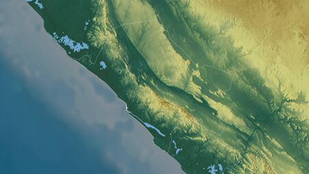 Nyanga, province of Gabon. Colored relief with lakes and rivers. Shape outlined against its country area. 3D rendering