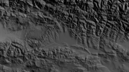 Shida Kartli, region of Georgia. Grayscaled map with lakes and rivers. Shape outlined against its country area. 3D rendering