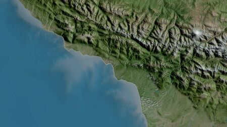 Abkhazia, autonomous republic of Georgia. Satellite imagery. Shape outlined against its country area. 3D rendering