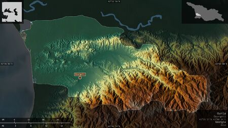 Guria, region of Georgia. Colored relief with lakes and rivers. Shape presented against its country area with informative overlays. 3D rendering