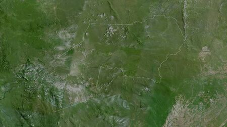 Ogooué-Ivindo, province of Gabon. Satellite imagery. Shape outlined against its country area. 3D rendering