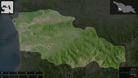 Guria, region of Georgia. Satellite imagery. Shape presented against its country area with informative overlays. 3D rendering