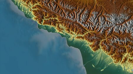 Abkhazia, autonomous republic of Georgia. Colored relief with lakes and rivers. Shape outlined against its country area. 3D rendering Фото со стока