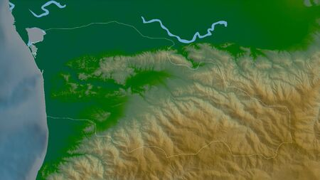 Guria, region of Georgia. Colored shader data with lakes and rivers. Shape outlined against its country area. 3D rendering Фото со стока