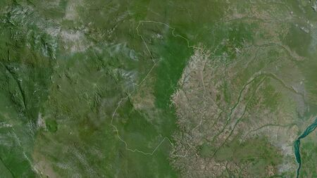 Haut-Ogooué, province of Gabon. Satellite imagery. Shape outlined against its country area. 3D rendering Фото со стока