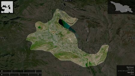 Tbilisi, independent city of Georgia. Satellite imagery. Shape presented against its country area with informative overlays. 3D rendering Фото со стока
