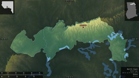 North East, region of Ghana. Colored relief with lakes and rivers. Shape presented against its country area with informative overlays. 3D rendering Фото со стока