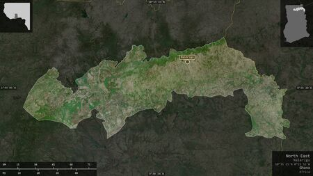 North East, region of Ghana. Satellite imagery. Shape presented against its country area with informative overlays. 3D rendering Фото со стока
