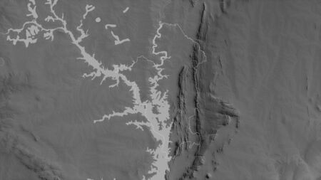 Oti, region of Ghana. Grayscaled map with lakes and rivers. Shape outlined against its country area. 3D rendering Фото со стока