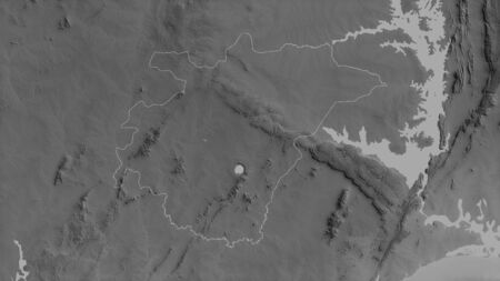 Ashanti, region of Ghana. Grayscaled map with lakes and rivers. Shape outlined against its country area. 3D rendering