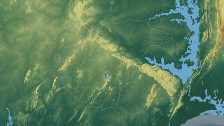 Ashanti, region of Ghana. Colored relief with lakes and rivers. Shape outlined against its country area. 3D rendering