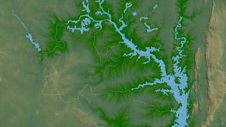 Bono East, region of Ghana. Colored shader data with lakes and rivers. Shape outlined against its country area. 3D rendering
