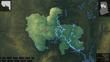Savannah, region of Ghana. Colored relief with lakes and rivers. Shape presented against its country area with informative overlays. 3D rendering Фото со стока
